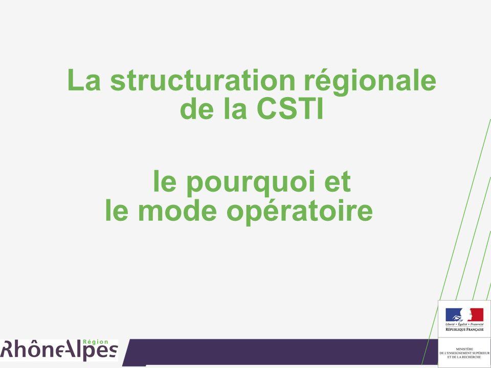 La structuration régionale de la CSTI le pourquoi et le mode opératoire