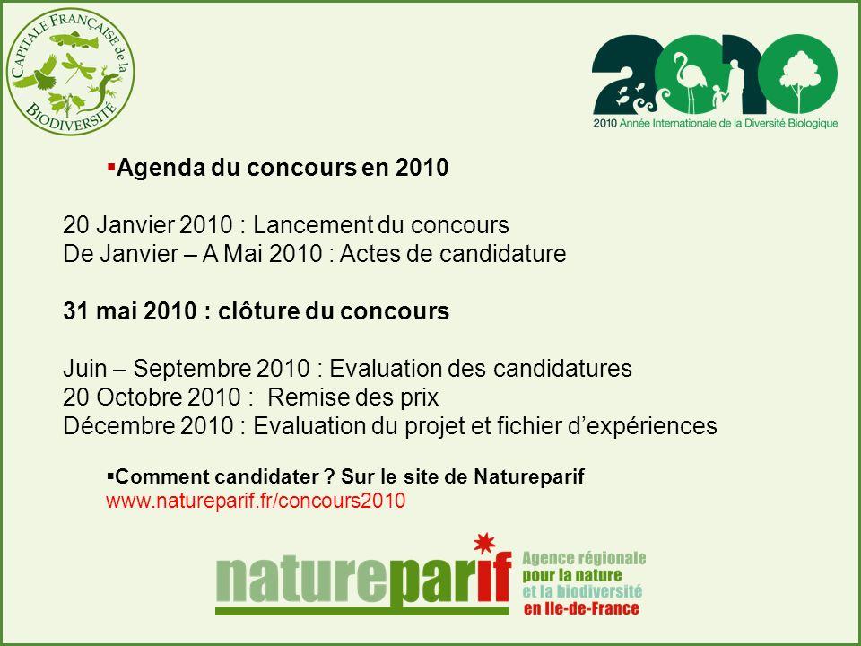 Agenda du concours en 2010 20 Janvier 2010 : Lancement du concours De Janvier – A Mai 2010 : Actes de candidature 31 mai 2010 : clôture du concours Ju