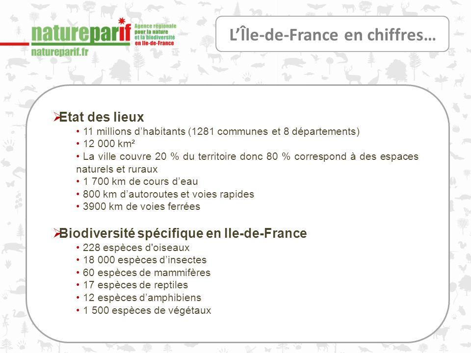 LÎle-de-France en chiffres… Etat des lieux 11 millions dhabitants (1281 communes et 8 départements) 12 000 km² La ville couvre 20 % du territoire donc 80 % correspond à des espaces naturels et ruraux 1 700 km de cours deau 800 km dautoroutes et voies rapides 3900 km de voies ferrées Biodiversité spécifique en Ile-de-France 228 espèces d oiseaux 18 000 espèces dinsectes 60 espèces de mammifères 17 espèces de reptiles 12 espèces damphibiens 1 500 espèces de végétaux