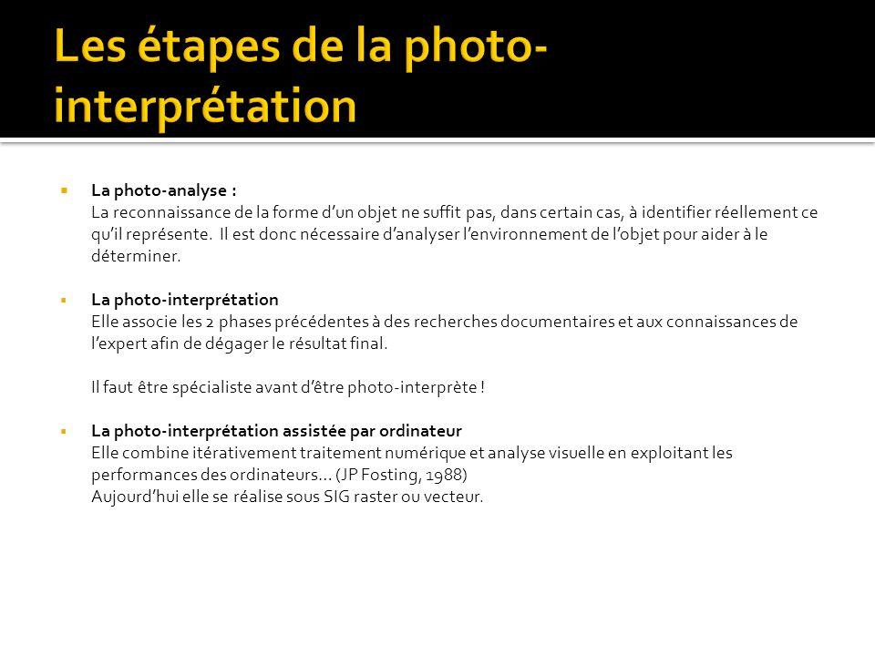 La photo-analyse : La reconnaissance de la forme dun objet ne suffit pas, dans certain cas, à identifier réellement ce quil représente. Il est donc né
