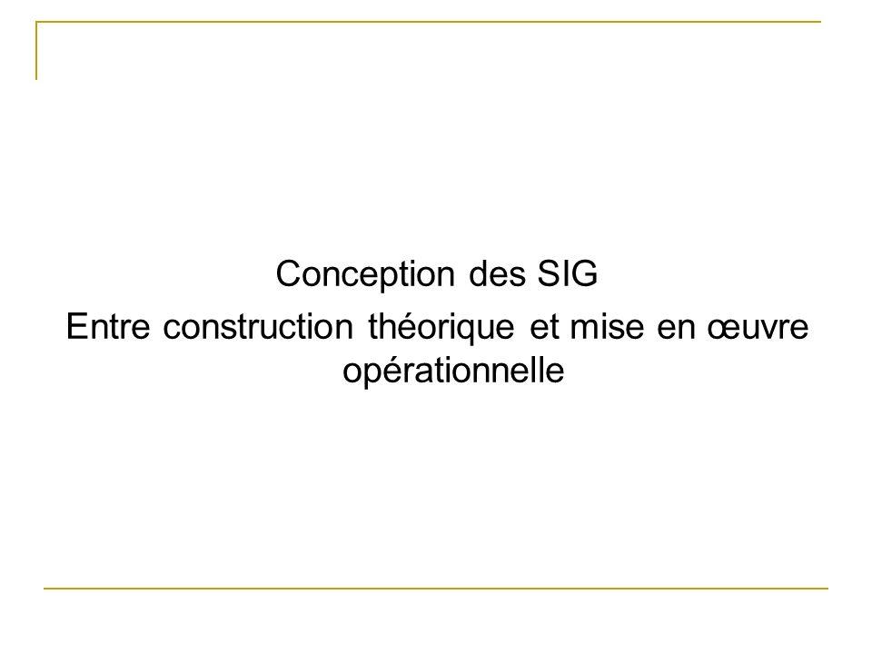 Conception des SIG Entre construction théorique et mise en œuvre opérationnelle