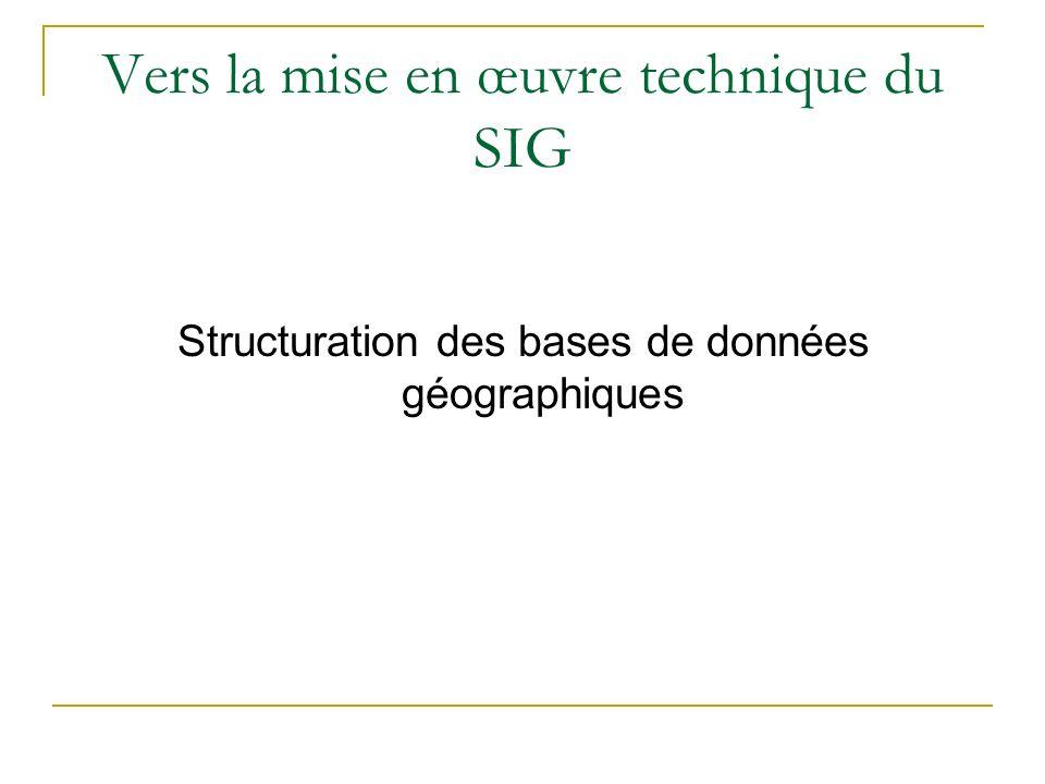 Vers la mise en œuvre technique du SIG Structuration des bases de données géographiques