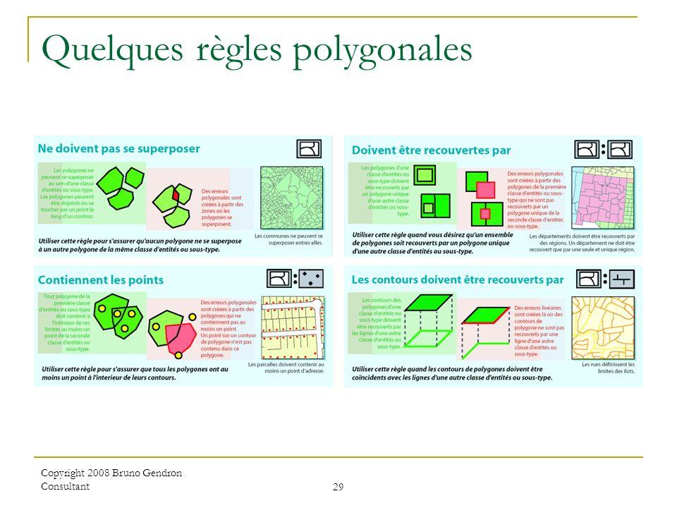 Copyright 2008 Bruno Gendron Consultant 29 Quelques règles polygonales