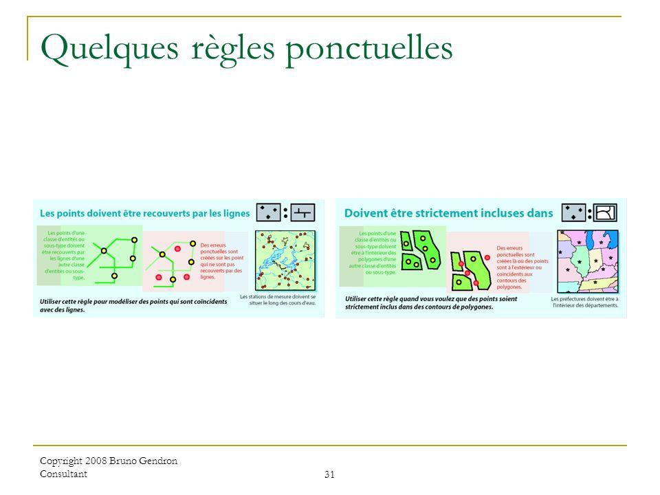 Copyright 2008 Bruno Gendron Consultant 31 Quelques règles ponctuelles