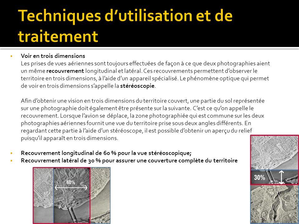 Voir en trois dimensions Les prises de vues aériennes sont toujours effectuées de façon à ce que deux photographies aient un même recouvrement longitu