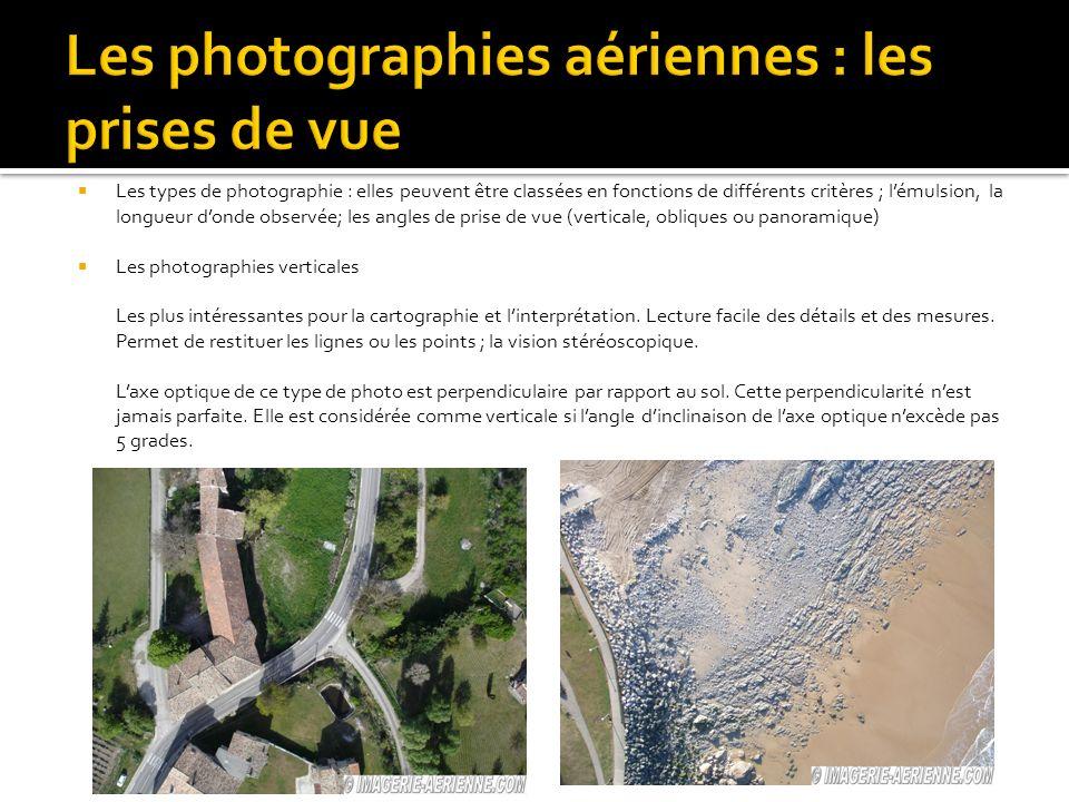 Les types de photographie : elles peuvent être classées en fonctions de différents critères ; lémulsion, la longueur donde observée; les angles de prise de vue (verticale, obliques ou panoramique) Les photographies verticales Les plus intéressantes pour la cartographie et linterprétation.