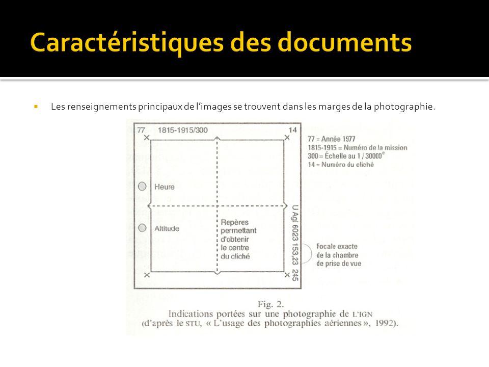 Les renseignements principaux de limages se trouvent dans les marges de la photographie.