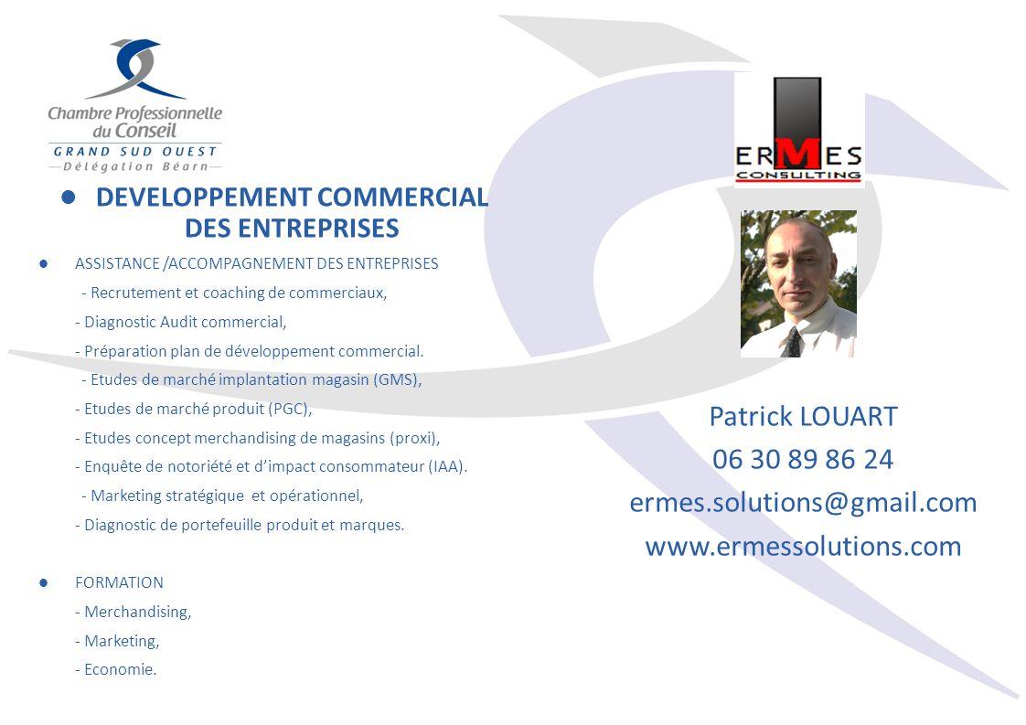 DEVELOPPEMENT COMMERCIAL DES ENTREPRISES ASSISTANCE /ACCOMPAGNEMENT DES ENTREPRISES - Recrutement et coaching de commerciaux, - Diagnostic Audit commercial, - Préparation plan de développement commercial.