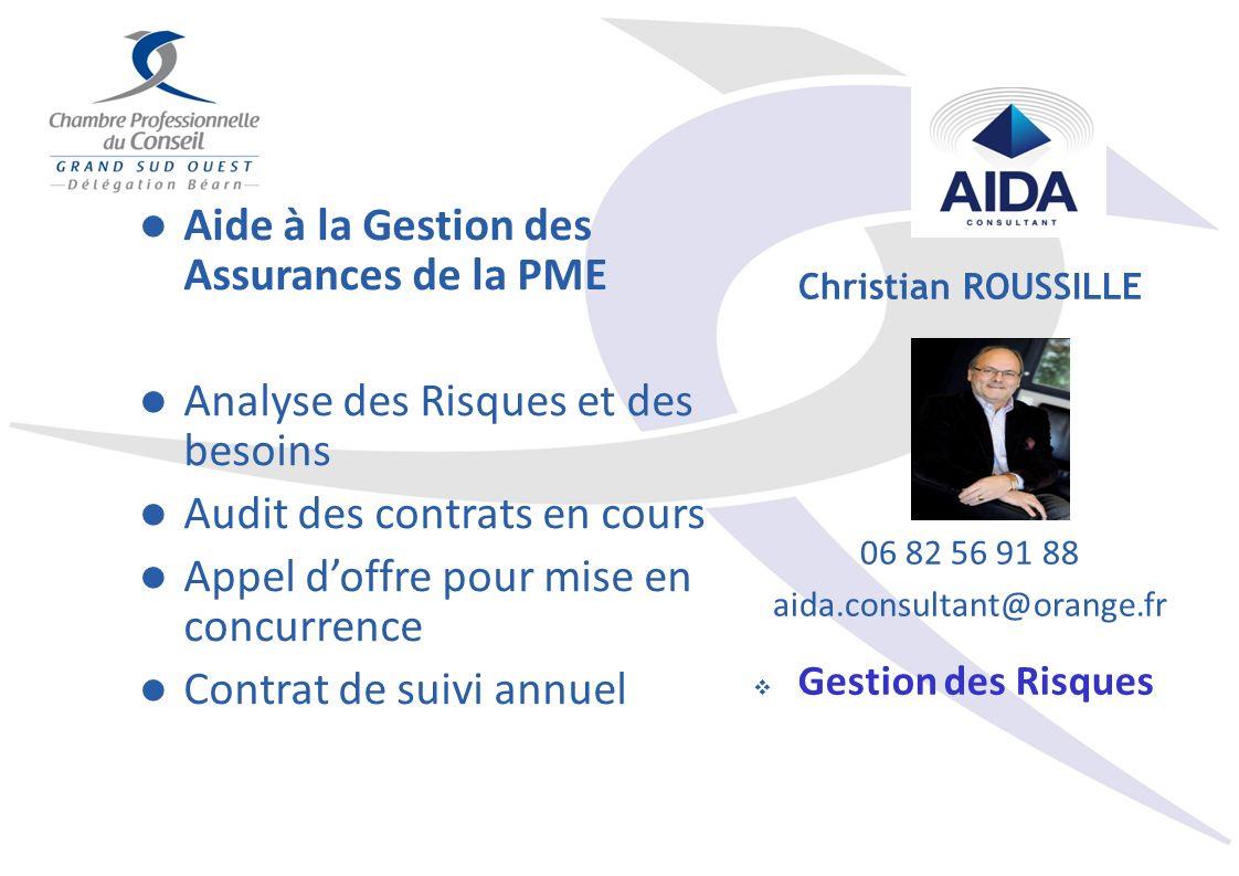 Aide à la Gestion des Assurances de la PME Analyse des Risques et des besoins Audit des contrats en cours Appel doffre pour mise en concurrence Contra