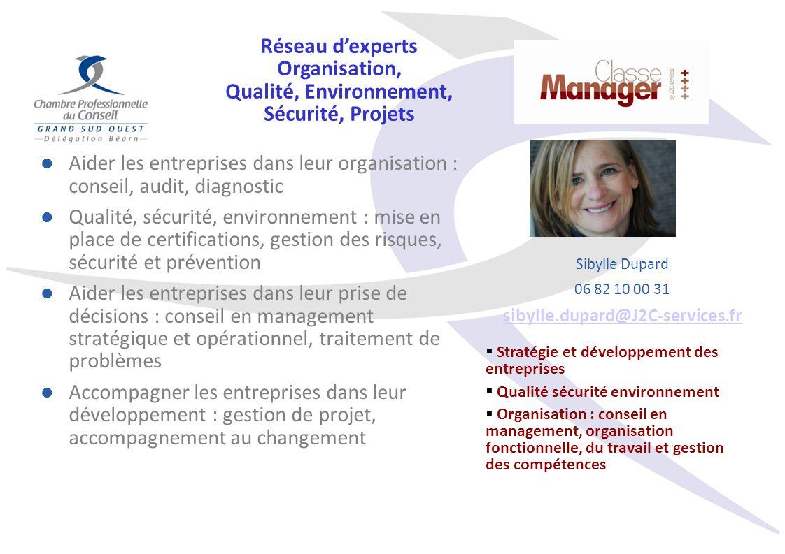 Aider les entreprises dans leur organisation : conseil, audit, diagnostic Qualité, sécurité, environnement : mise en place de certifications, gestion