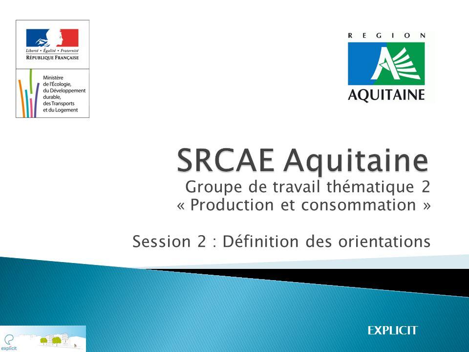 Groupe de travail thématique 2 « Production et consommation » Session 2 : Définition des orientations EXPLICIT