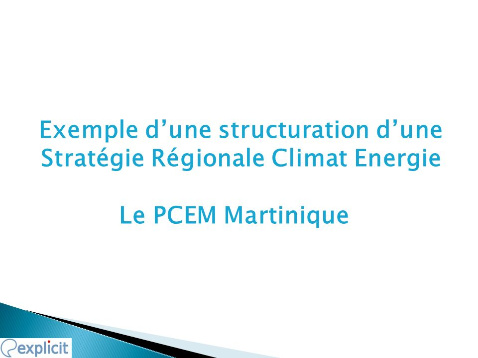 Exemple dune structuration dune Stratégie Régionale Climat Energie Le PCEM Martinique 19