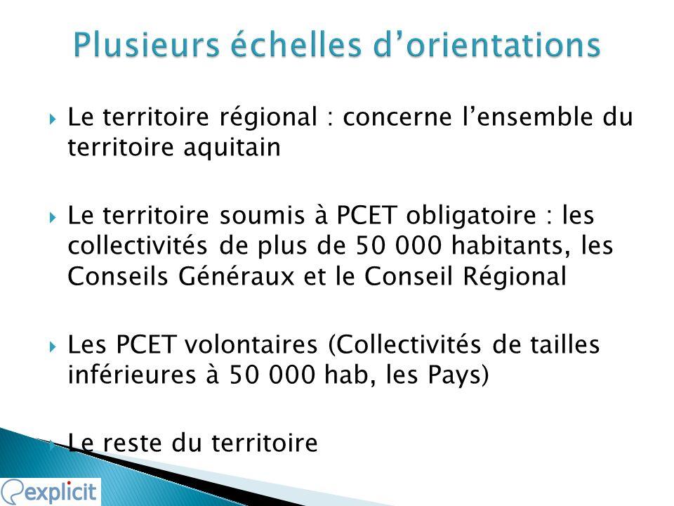 Le territoire régional : concerne lensemble du territoire aquitain Le territoire soumis à PCET obligatoire : les collectivités de plus de 50 000 habit