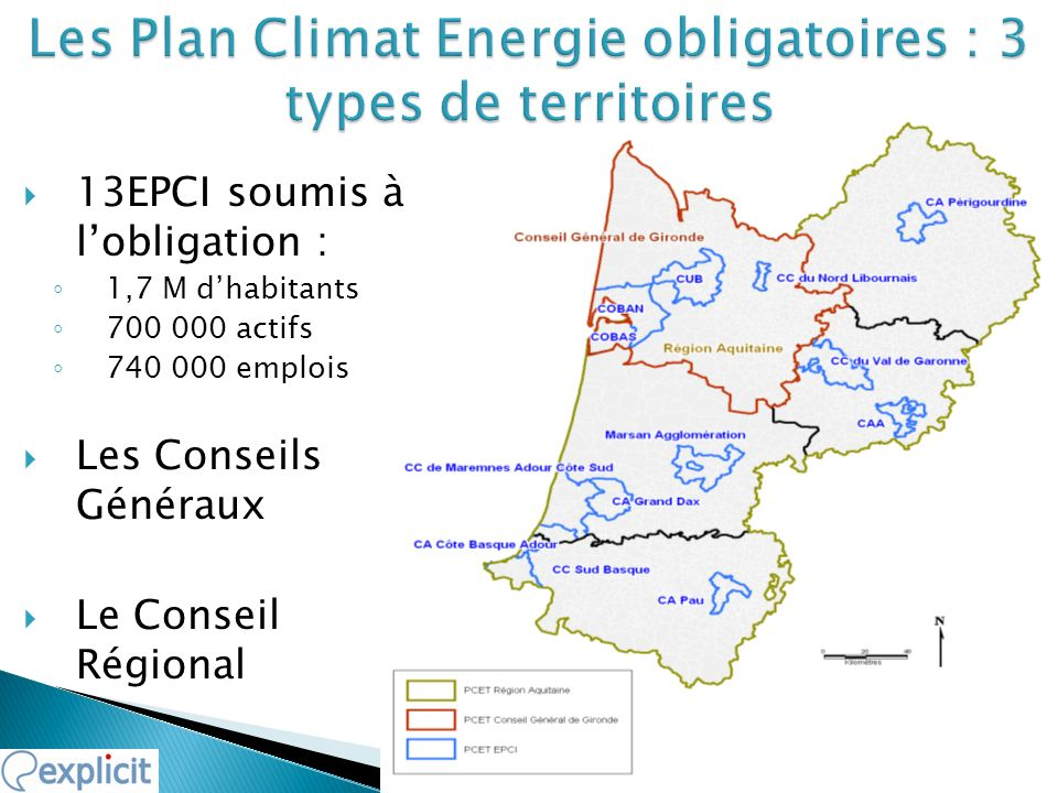 13EPCI soumis à lobligation : 1,7 M dhabitants 700 000 actifs 740 000 emplois Les Conseils Généraux Le Conseil Régional