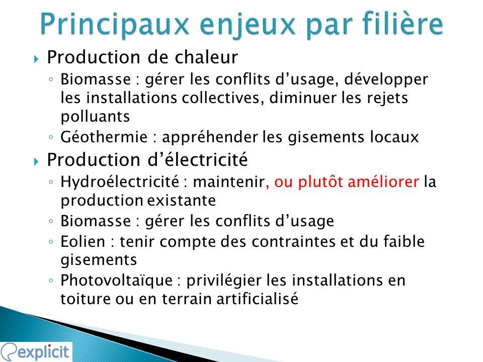 Production de chaleur Biomasse : gérer les conflits dusage, développer les installations collectives, diminuer les rejets polluants Géothermie : appré