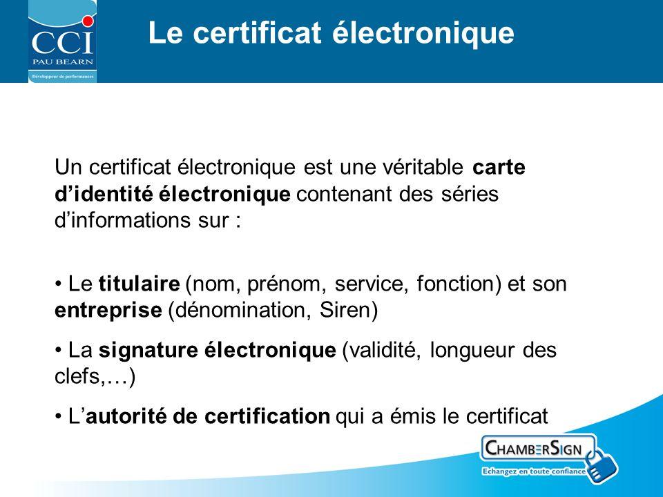 Le certificat électronique Un certificat électronique est une véritable carte didentité électronique contenant des séries dinformations sur : Le titulaire (nom, prénom, service, fonction) et son entreprise (dénomination, Siren) La signature électronique (validité, longueur des clefs,…) Lautorité de certification qui a émis le certificat
