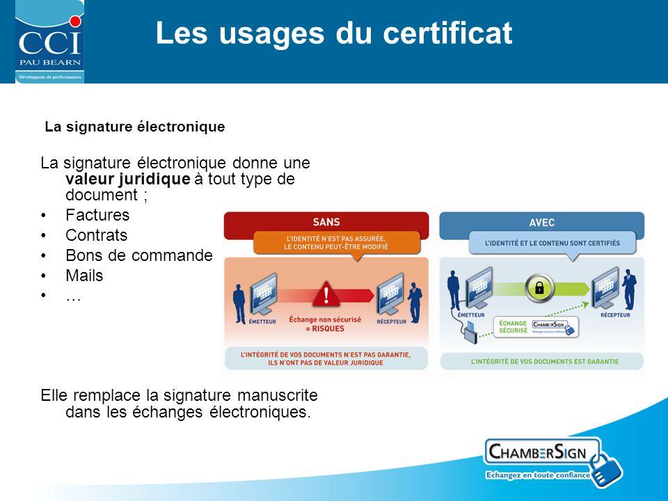 Les usages du certificat La signature électronique La signature électronique donne une valeur juridique à tout type de document ; Factures Contrats Bons de commande Mails … Elle remplace la signature manuscrite dans les échanges électroniques.