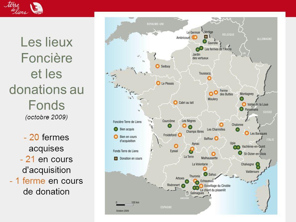 Les lieux Foncière et les donations au Fonds (octobre 2009) - 20 fermes acquises - 21 en cours d'acquisition - 1 ferme en cours de donation
