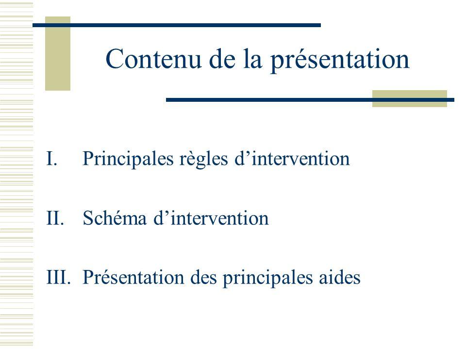 Contenu de la présentation I.Principales règles dintervention II.
