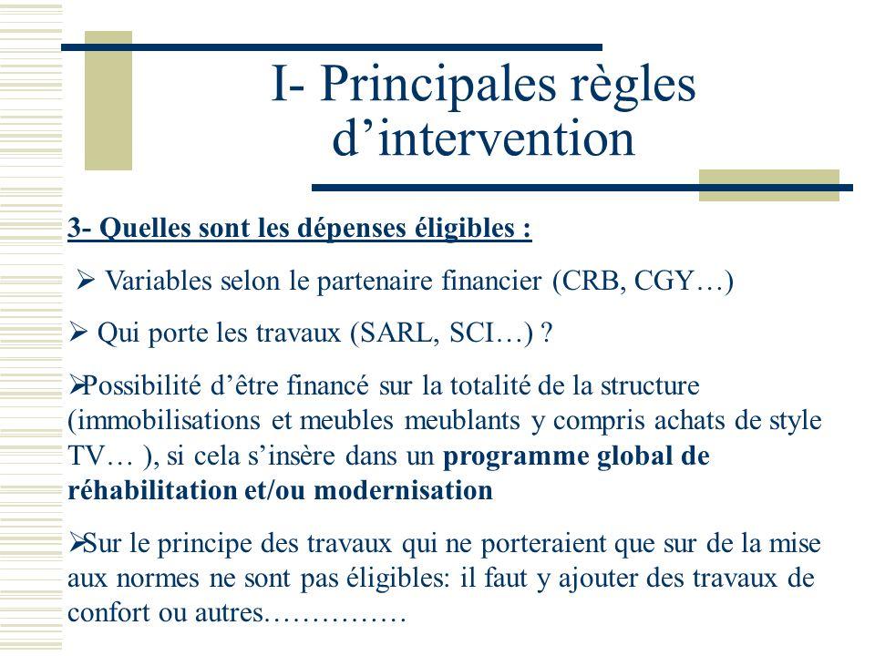 I- Principales règles dintervention 4- Conditions dattribution des aides : variable selon les collectivités Classement tourisme et/ou label de qualité Rester propriétaire ou exploiter pendant un certain nombre dannées…..