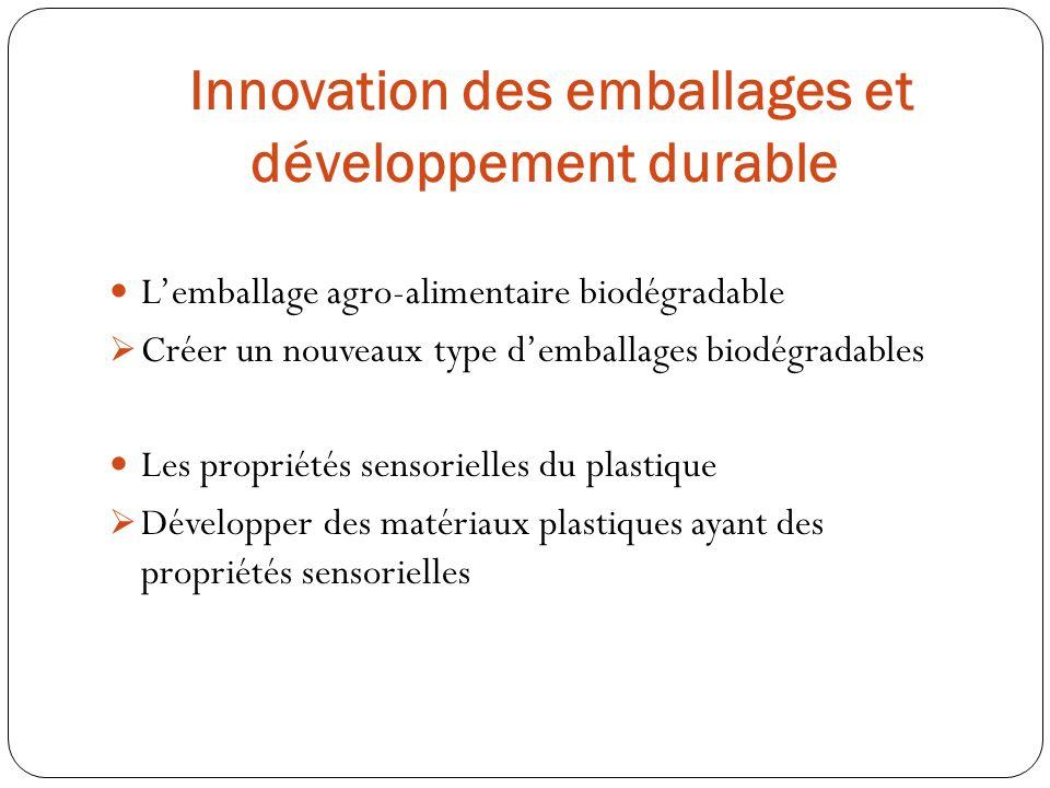 Lemballage agro-alimentaire biodégradable Créer un nouveaux type demballages biodégradables Les propriétés sensorielles du plastique Développer des ma