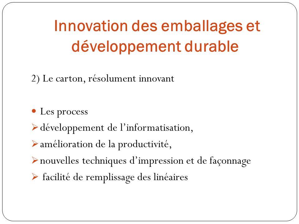 2) Le carton, résolument innovant Les process développement de linformatisation, amélioration de la productivité, nouvelles techniques dimpression et
