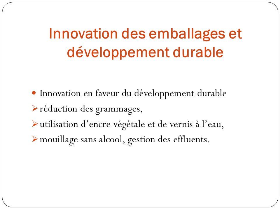 Innovation en faveur du développement durable réduction des grammages, utilisation dencre végétale et de vernis à leau, mouillage sans alcool, gestion