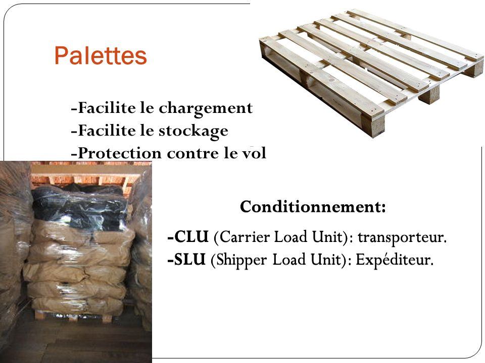 Palettes -CLU (Carrier Load Unit): transporteur. -SLU (Shipper Load Unit): Expéditeur. Conditionnement: -Facilite le chargement -Facilite le stockage