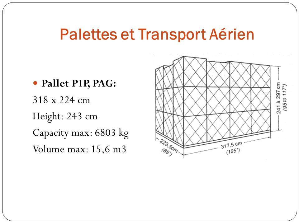 Palettes et Transport Aérien Pallet P1P, PAG: 318 x 224 cm Height: 243 cm Capacity max: 6803 kg Volume max: 15,6 m3