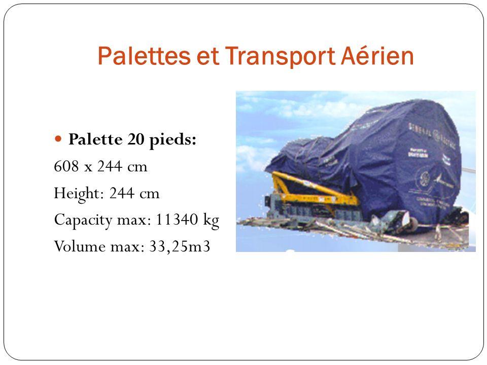 Palettes et Transport Aérien Palette 20 pieds: 608 x 244 cm Height: 244 cm Capacity max: 11340 kg Volume max: 33,25m3