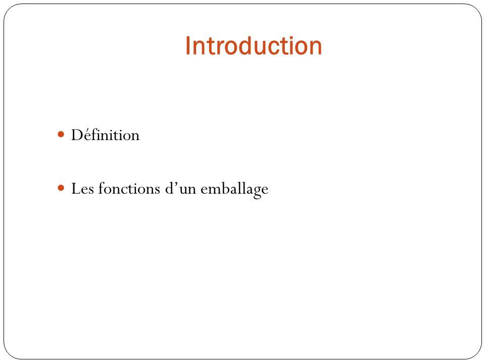 Définition Les fonctions dun emballage Introduction