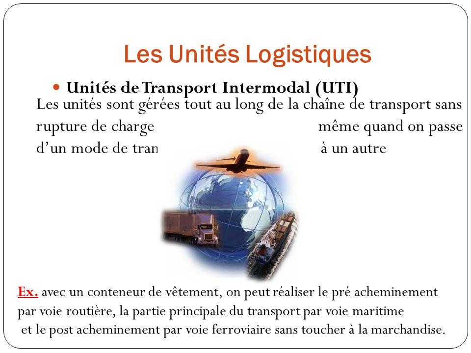 Les Unités Logistiques Unités de Transport Intermodal (UTI) Les unités sont gérées tout au long de la chaîne de transport sans rupture de charge même