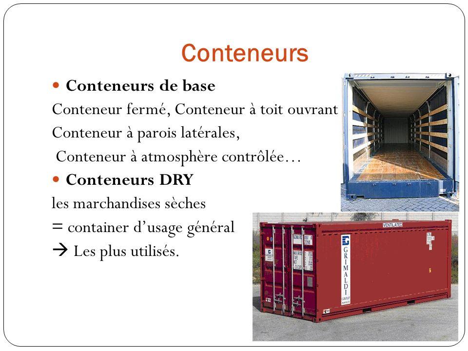 Conteneurs CONTAINERS 20 PIEDS = Container 6 mètres Volume 33 m3 Poids vide 2,2 tonnes CONTAINERS 40 PIEDS.
