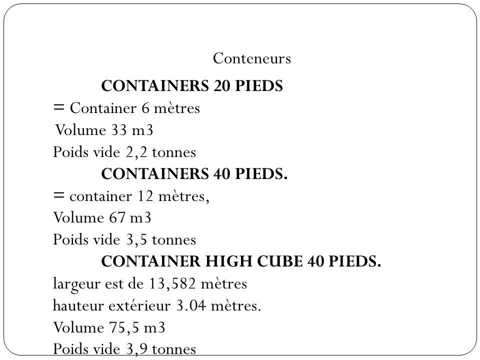Conteneurs CONTAINERS 20 PIEDS = Container 6 mètres Volume 33 m3 Poids vide 2,2 tonnes CONTAINERS 40 PIEDS. = container 12 mètres, Volume 67 m3 Poids