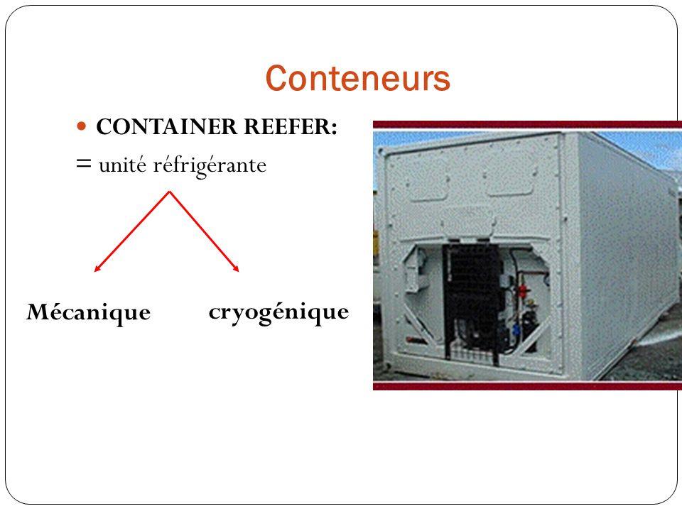 Conteneurs CONTAINER REEFER: = unité réfrigérante Mécanique cryogénique