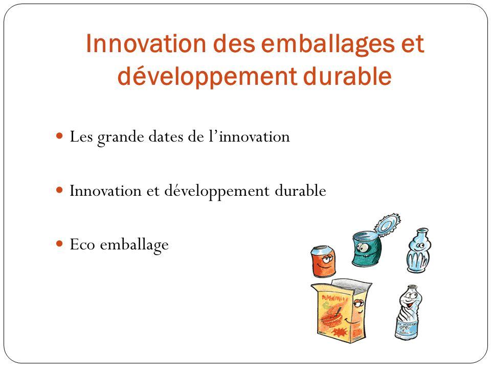 Les grande dates de linnovation Innovation et développement durable Eco emballage Innovation des emballages et développement durable