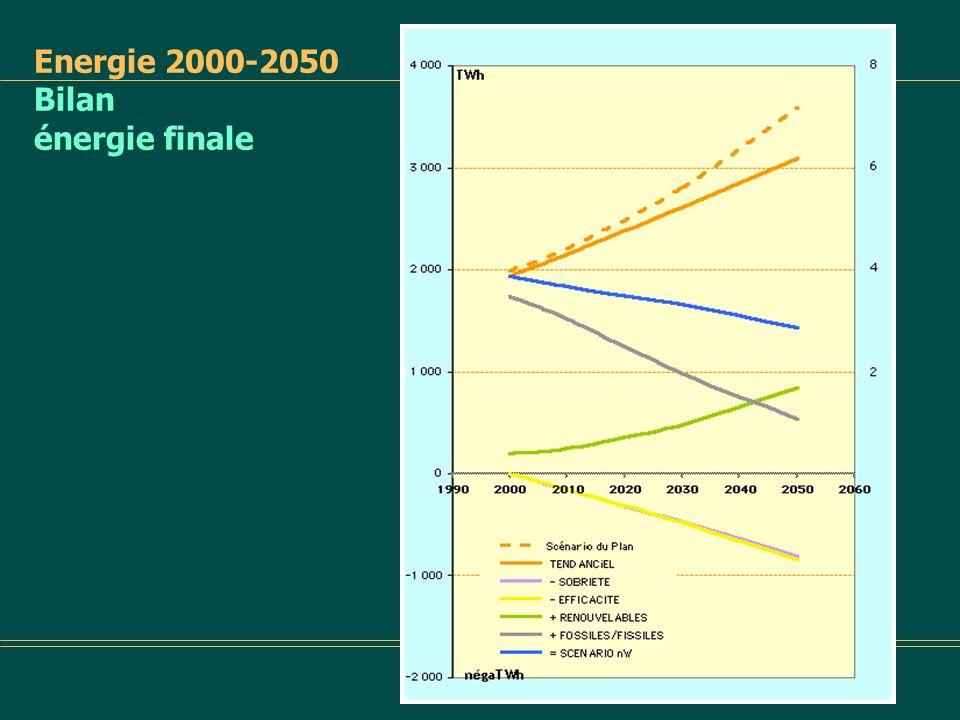 Énergie primaire 2000-2050 en TWh Scénario tendanciel par ressources