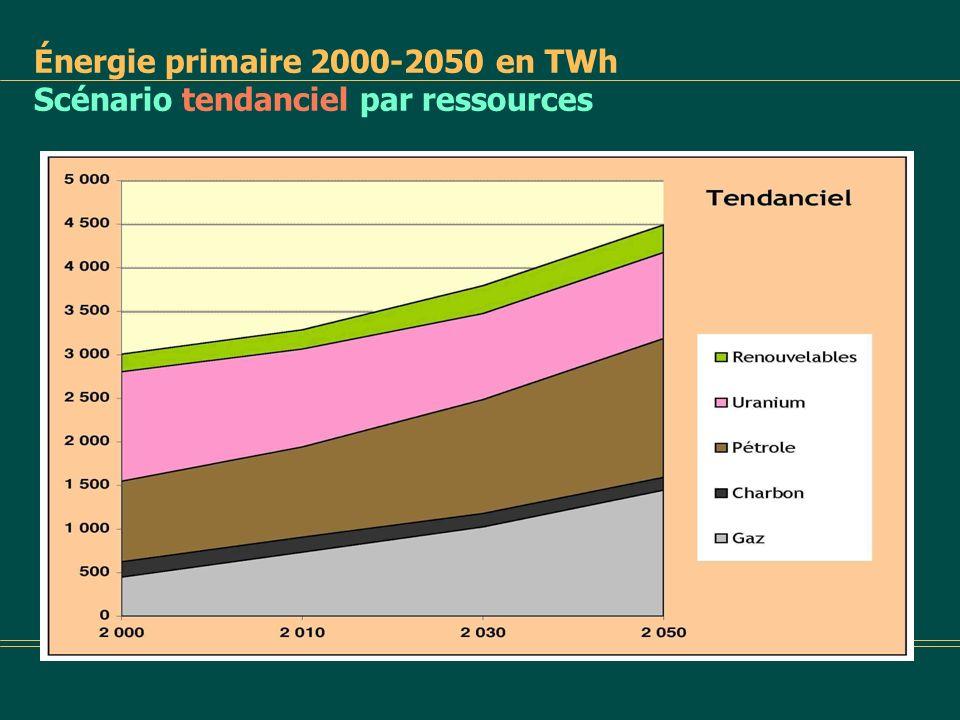 Énergie primaire 2000-2050 en TWh Comparatif nW par ressources