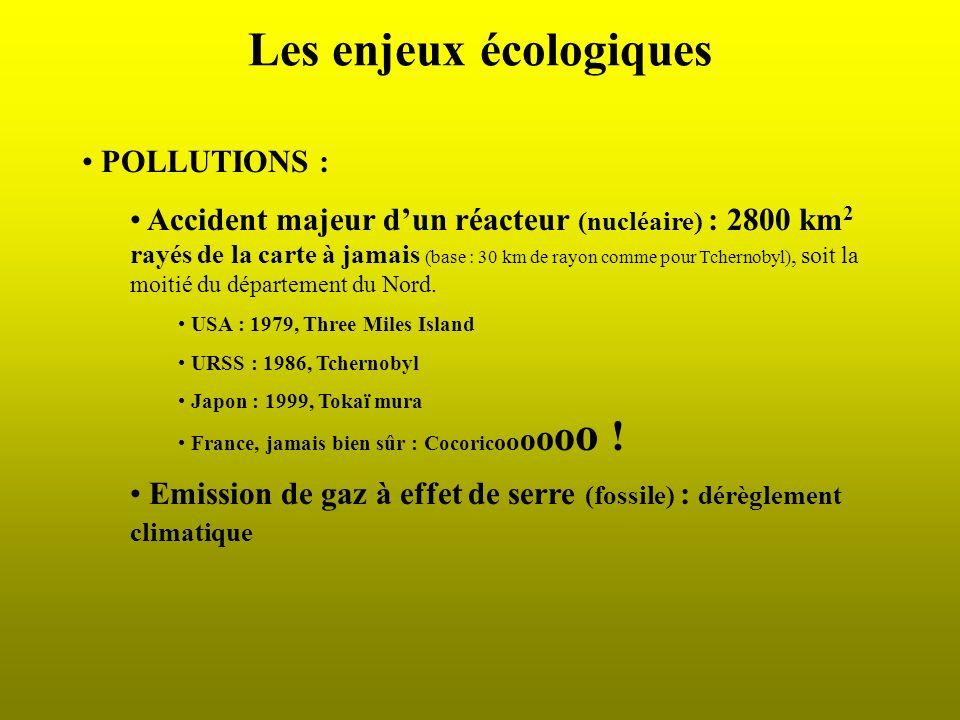 Les enjeux écologiques POLLUTIONS : Accident majeur dun réacteur (nucléaire) : 2800 km 2 rayés de la carte à jamais (base : 30 km de rayon comme pour