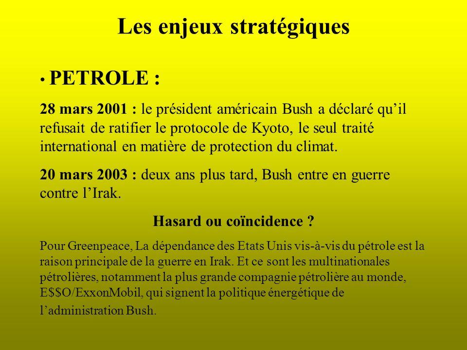 Les enjeux stratégiques PETROLE : 28 mars 2001 : le président américain Bush a déclaré quil refusait de ratifier le protocole de Kyoto, le seul traité international en matière de protection du climat.