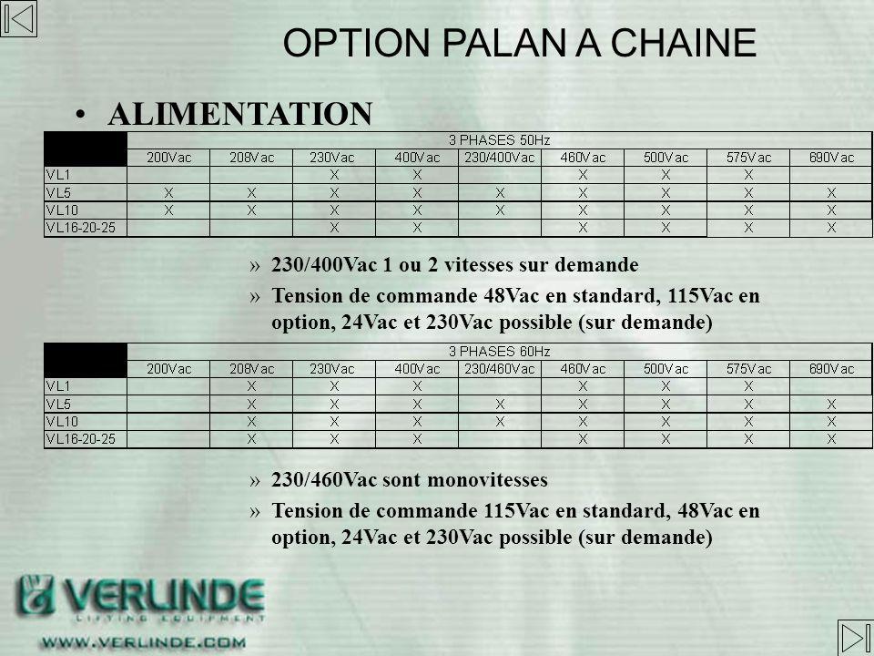 MECANIQUES VL options -Crochet automatique -Double frein -Chaîne inox 316L -Crochet inférieur inox 316L -Œillet de suspension