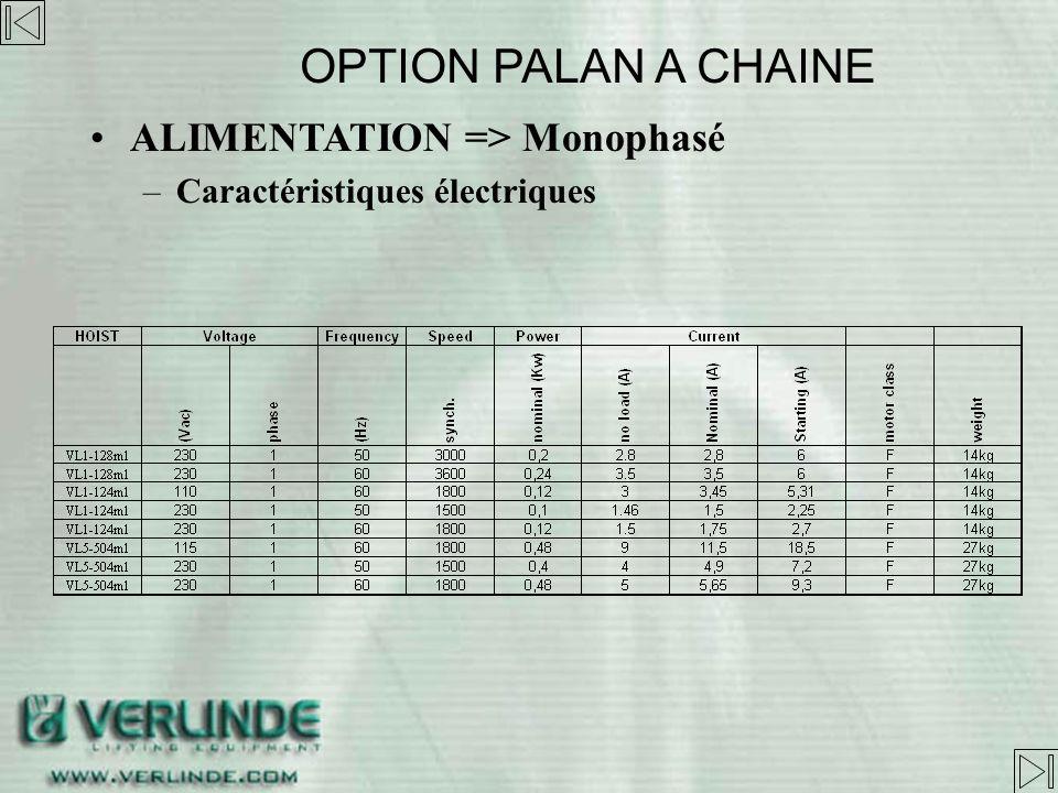 ALIMENTATION => Monophasé –Configuration électrique »* seulement pour marché US OPTION PALAN A CHAINE