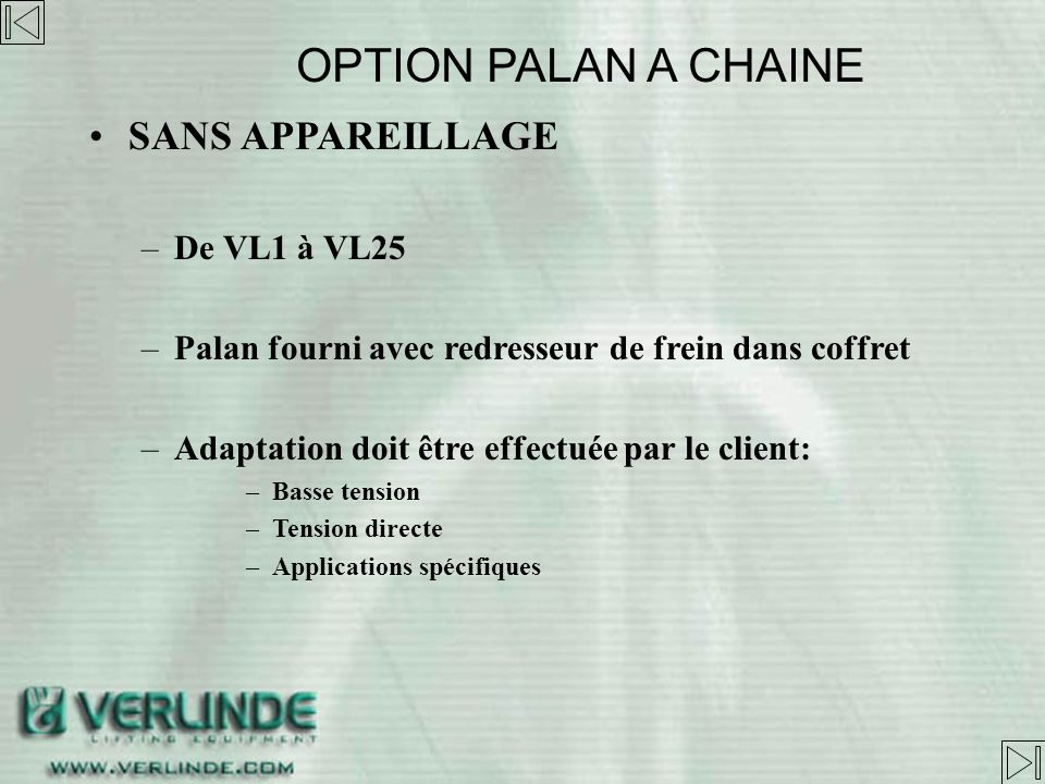 TENSION DIRECTE OPTION PALAN A CHAINE