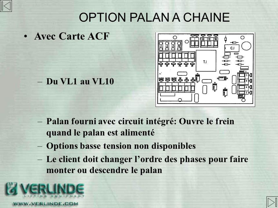 SANS APPAREILLAGE –De VL1 à VL25 –Palan fourni avec redresseur de frein dans coffret –Adaptation doit être effectuée par le client: –Basse tension –Te