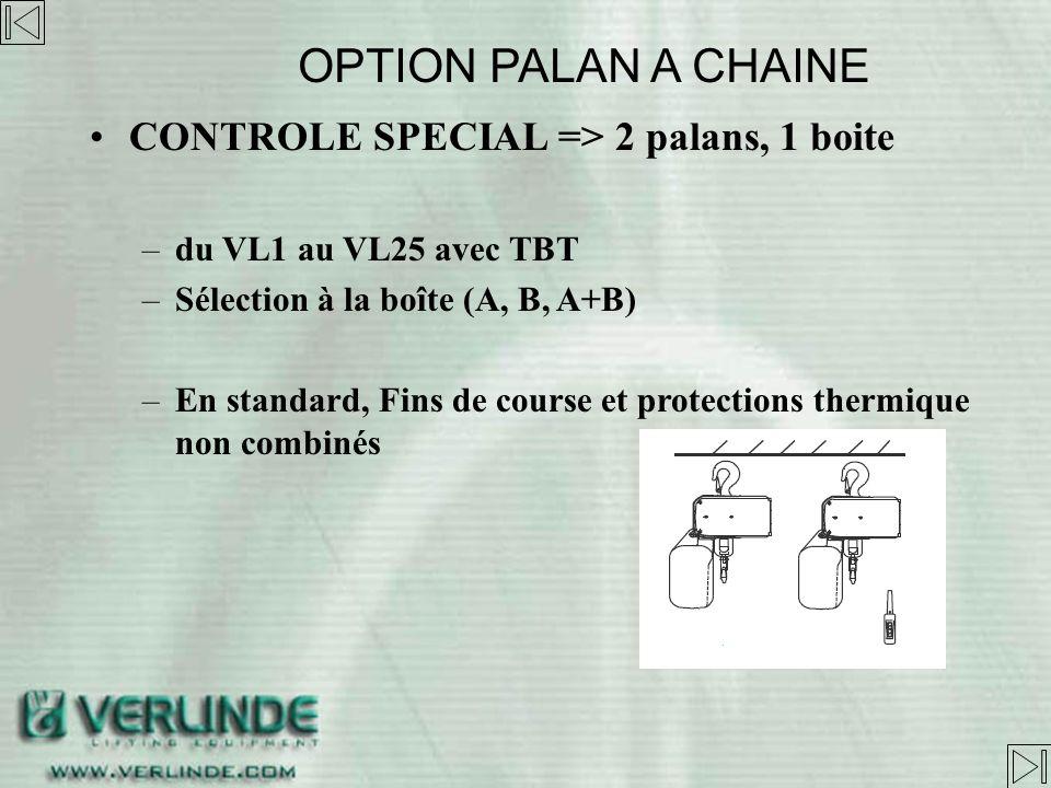 CONTROLE SPECIAL => 1 palan, 2 boites –Du VL1 au VL25 avec TBT OPTION PALAN A CHAINE