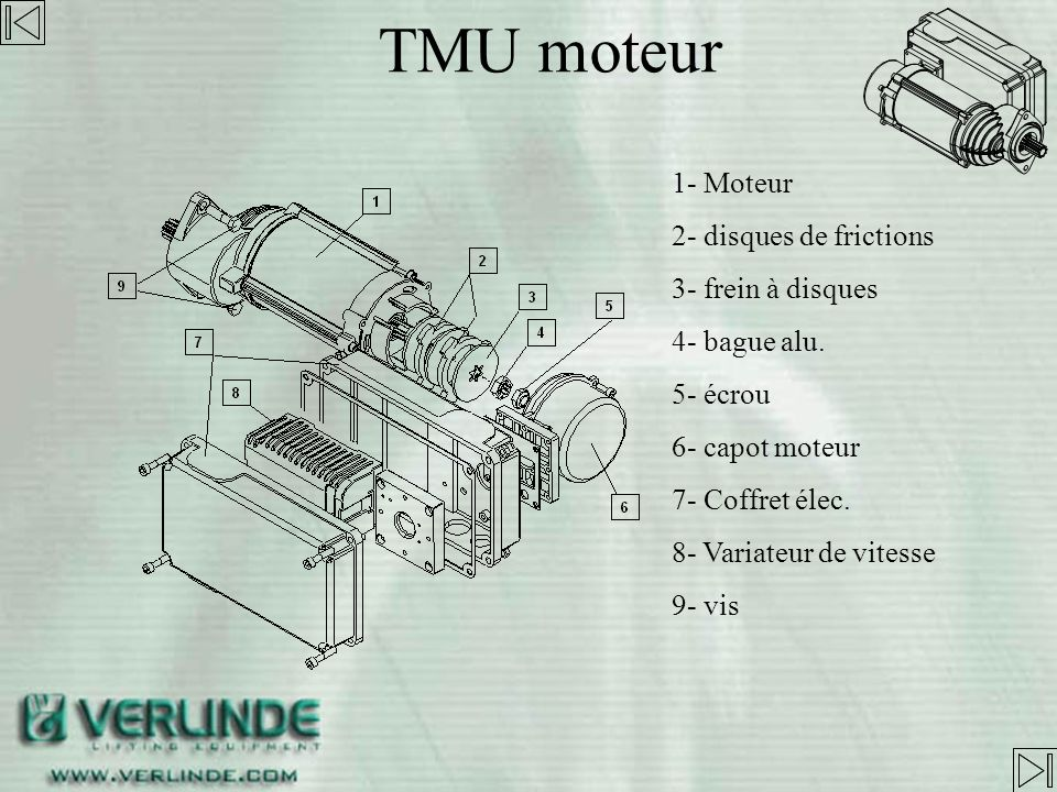 TMU moteur 2 Moteurs for TMU. - 1er sans réducteur 0 à 1000kg - second avec réducteur 1000 à 5000kg