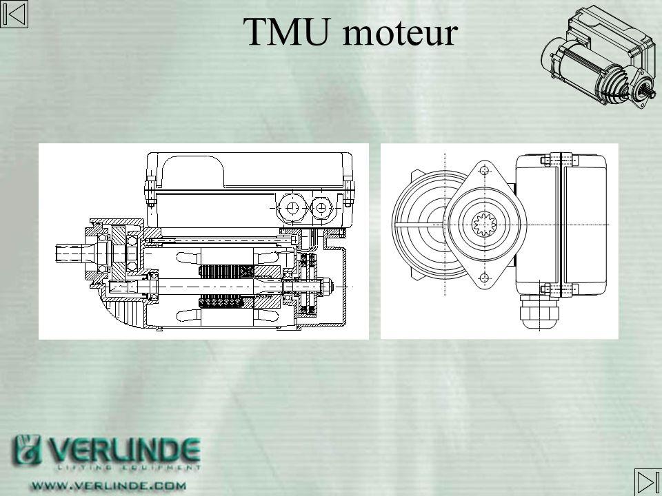 1- Moteur 2- disques de frictions 3- frein à disques 4- bague alu. 5- écrou 6- capot moteur 7- Coffret élec. 8- Variateur de vitesse 9- vis TMU moteur