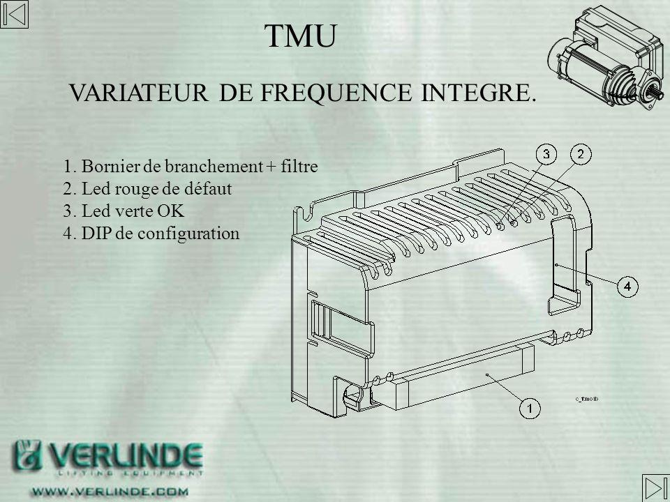 TMU bi-vitesse, Petite vitesse de 4 à 20 m/min Grande vitesse de 20 à 44 m/min vitesse variable, moteur jusqu à 1000kg Petite vitesse de 2 à 10 m/min