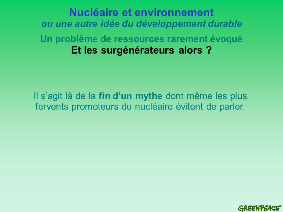 Nucléaire et environnement ou une autre idée du développement durable Un problème de ressources rarement évoqué Et les surgénérateurs alors .