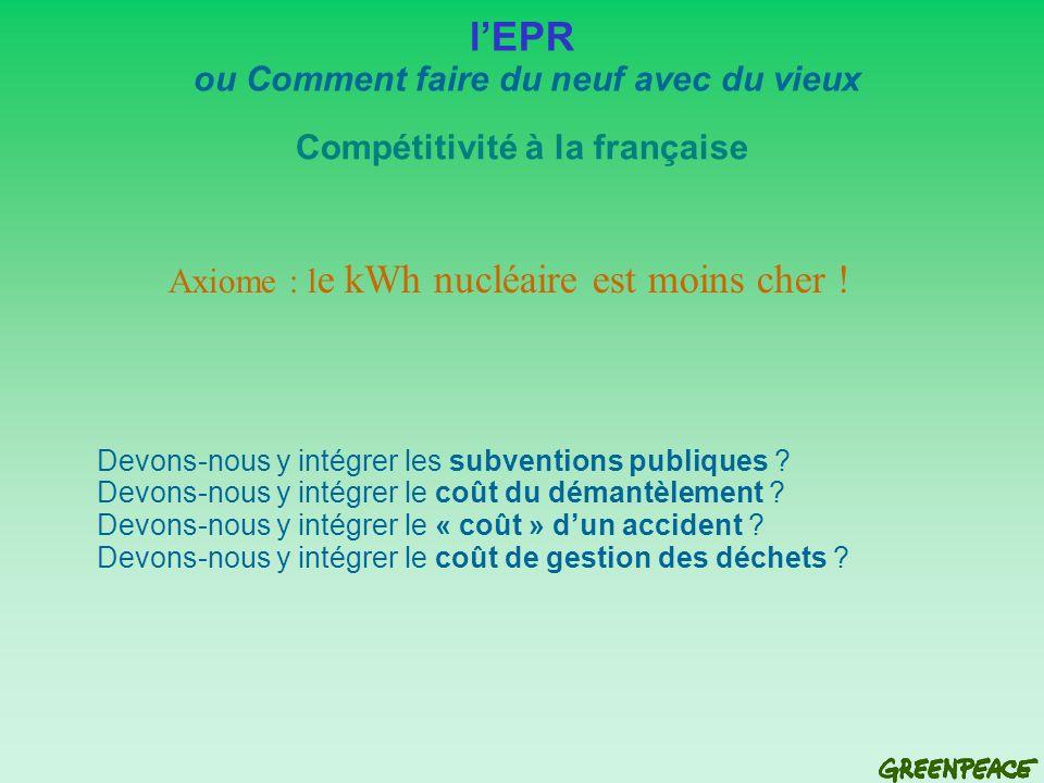 Compétitivité à la française lEPR ou Comment faire du neuf avec du vieux Axiome : l e kWh nucléaire est moins cher .